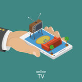 Online TV flat isometric vector concept. Royalty Free Stock Images