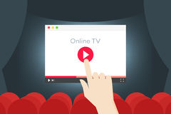 Online TV Flat Vector Iillustration. Hand Over Abstract Browser In The Movie Hall.  Royalty Free Stock Photos