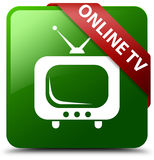 Online tv green square button Royalty Free Stock Images