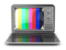 Online tv. Laptop with old-fashioned tv screen. Stock Image