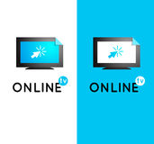 Online tv vector logo. Internet media. Broadcast online vector l Stock Photography