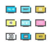 Online tv vector logo. Internet media. Broadcast online vector l Royalty Free Stock Photo