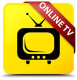 Online tv yellow square button red ribbon in corner. Online tv isolated on yellow square button with red ribbon in corner abstract illustration Royalty Free Stock Photo