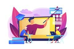Online uczenie dla seniora pojęcia wektoru ilustracji ilustracja wektor