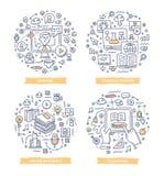 Online uczenie Doodle ilustracje ilustracji
