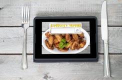 Online und Internet-Lebensmittellieferungskonzept Stockfotografie