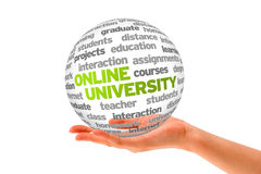 Online University. Hand holding a 3d Online University Sphere on white background Royalty Free Stock Images