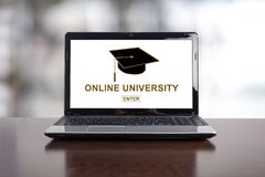 Online university concept on a laptop stock images