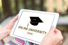 Online university concept on a tablet stock photos