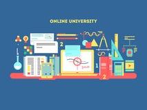 Online university design flat Royalty Free Stock Image