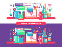 Online university design flat Royalty Free Stock Photography