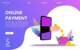 Online-uppsättning för betalningbegreppsillustration royaltyfri illustrationer