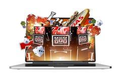 Online Uprawiający hazard na laptopie ilustracja wektor