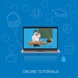 Online-utbildning, den plana vektorillustrationen, apps, baner, skissar, räcker utdraget Royaltyfri Bild