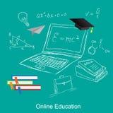 Online-utbildning, den plana vektorillustrationen, apps, baner, skissar, räcker utdraget Royaltyfria Bilder