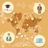 Online-utbildning, distansutbildning, professorstudent vektor illustrationer