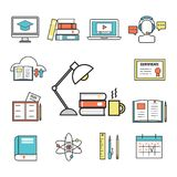 Online-utbildning för plana designsymboler Royaltyfri Bild