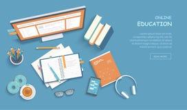 Online-utbildning, utbildning, kurser som e-lär, distansutbildning, examenförberedelse, hem- skolgång Rengöringsdukbanerbakgrund stock illustrationer