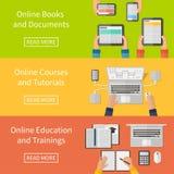 Online-utbildning, online-utbildningskurser och royaltyfri illustrationer