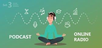 Online-utbildning, podcast, radio royaltyfri illustrationer