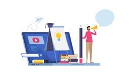 Online-utbildning som e-lär online-affärskurser home study Orubblig Website Utbildning tecknad filmcommandertryckspruta hans illu royaltyfri illustrationer