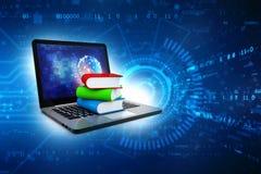 Online-utbildningsbegrepp - b?rbar datordator med f?rgrika b?cker framf?rande 3d vektor illustrationer