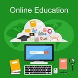 Online-utbildningsillustration Plana designillustrationbegrepp för e-att lära Arkivfoto