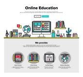 Online-utbildningslägenhetlinje rengöringsdukdiagram royaltyfri illustrationer