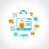 Online-utbildningssymboler Arkivbilder