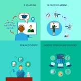 Online-utbildningssymbolslägenhet Arkivbild