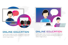 Online-utbildningsvektorillustration Webinar Royaltyfria Foton