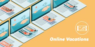 Online vacations on a laptop. People having vacations online on their laptops, they are lying on a deckchair and sunbathing in front of the computer screen Royalty Free Stock Photos
