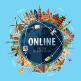 Online vector logo design template. Internet or Stock Image
