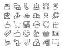 Online-vektoraffären, ecommerce, shoppar, marknadsför den tunna linjen symboler stock illustrationer