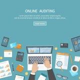 Online verificando, analisi, contabilità, processo di imposta, ricerca, rapporto finanziario Priorità bassa di affari Mani con i  royalty illustrazione gratis