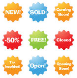 Online verkoopstickers Stock Afbeeldingen