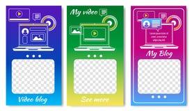 Online Video Blog for Sicial Media Templates. vector illustration