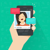 Online video call on smartphone vector, flat cartoon mobile phone with video chat technology, people talking online via. Online video call on smartphone vector Royalty Free Stock Photo