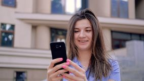 Online video chat fun joy entertainment woman. Online video chat. Fun joy entertainment. Woman talking on smartphone camera smiling stock video footage