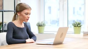Online Video chat by Girl on Laptop. Beautiful interior stock video footage