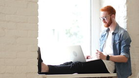 Online Video Chat on Laptop, Sitting Casual Man in Window stock footage