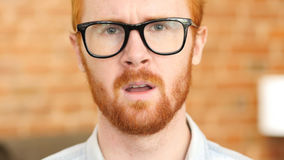 Online Video Chat, Web Camera View Red Hair Beard Man talking. High quality Royalty Free Stock Photography