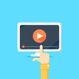 Online video concept. Internet video illustration. Distance training videos. Online learning design. Video conference and webinar image. Study using video royalty free illustration