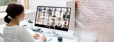 Free Online Video Conference Call Stock Image - 189287171