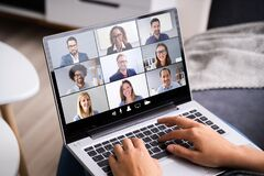 Free Online Video Conference Webinar Call Royalty Free Stock Images - 189287309