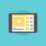 Online video on digital tablet flat icon illustration. Online video service, internet streaming video sharing website on modern digital tablet. Flat icon modern Stock Photography