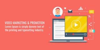 Video marketing, online video promotion, internet video content, digital media marketing concept. Flat design vector illustration. Online video marketing and Royalty Free Illustration