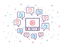 Online video player line art vector illustration Royalty Free Stock Photo