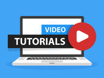 Free Online Video Tutorials Education Button In Laptop Notebook Computer Screen. Play Lesson Concept. Vector Illustration Royalty Free Stock Image - 96914816
