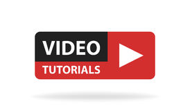 Online video tutorials education button. Play lesson concept. Vector illustration.  Royalty Free Stock Image